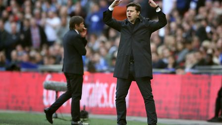Tottenham Hotspur manager Mauricio Pochettino gestures on the touchline during the FA Cup semi final