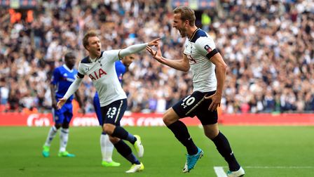 Tottenham Hotspur's Harry Kane celebrates scoring his side's first goal of their FA Cup semi final a