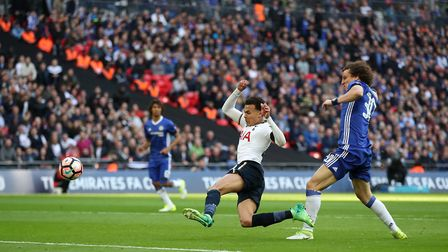 Tottenham Hotspur's Dele Alli scores his side's second goal against Chelsea in their FA Cup semi fin