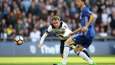 Tottenham Hotspur's Christian Eriksen (left) and Chelsea's Nemanja Matic battle for the ball in the