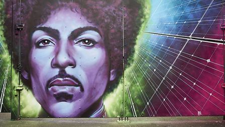 The mural to legendary musician Prince in Camden Town