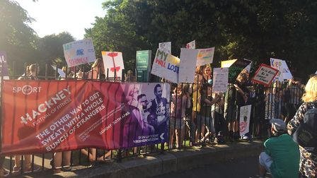 Protesters in Clissold Park. Picture: Tom Horton