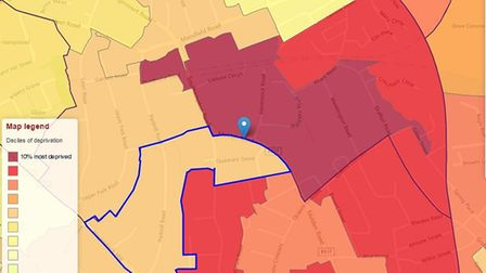 The streets off Malden Road, in dark burgundy red, are among the 10 per cent most deprived in Englan