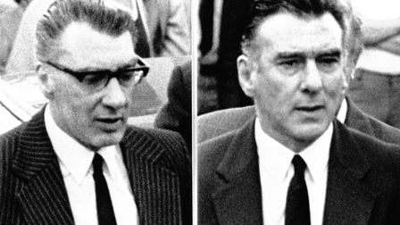 Tthe Kray twins Ronnie (left) and Reggie, Britain's most notorious gangsters who were imprisoned in