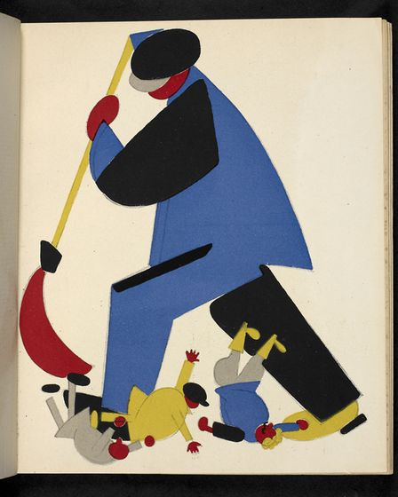 Russian placards of a worker sweeping criminals out of Soviet land. Picture: British Library