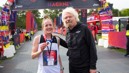 Isabel Clark was the fastest woman with a time of 1.18.15. Pictured with Sir Richard Branson. Pictur