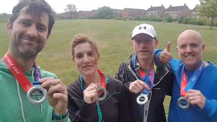 Members of the Halley House School team who completed the Hackney Half Marathon on Sunday.