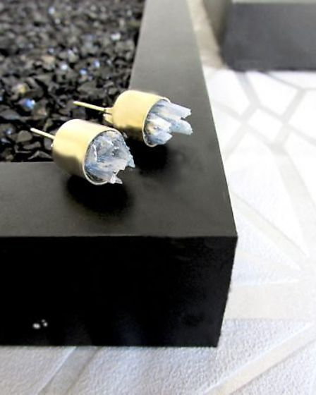 "Emma's hand-crafted earrings, called ""rock storm"" are ""inspired by falling hail stones"""