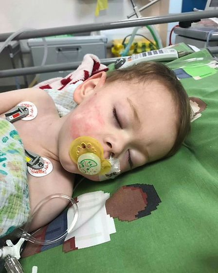 Ethan Messenger remains in critical condition in hospital. Photo: Aimee Messenger.