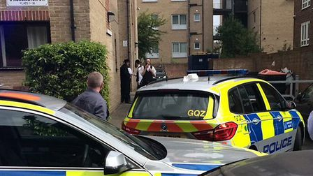 Police at the scene in Rossington Street this afternoon. Picture: @999London/Twitter