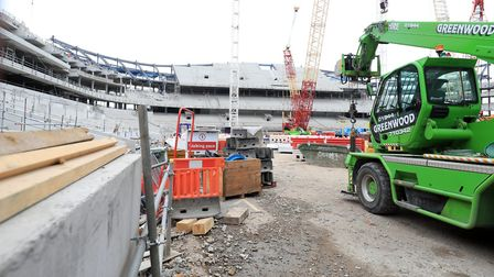 A view of the new Tottenham Hotspur stadium being built before a Premier League match at White Hart