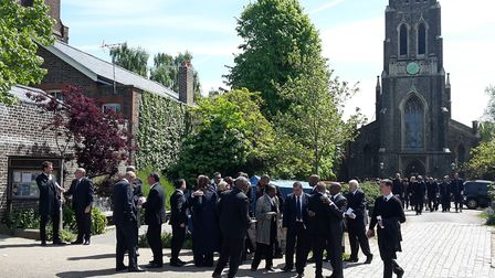 Mourners leave St Michael's Church in South Grove. Picture: Declan Warrington/PA Wire