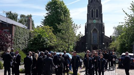 Mourners leave St Michael's Church. Picture: Declan Warrington/PA Wire