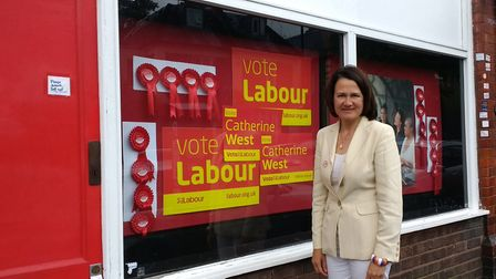 Catherine West outside the Labour Party's offices in Middle Lane, Crouch End. Picture: Iain Bu