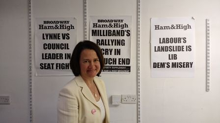 Catherine West stands in front of Ham&High stories from the past. Picture: Iain Burns