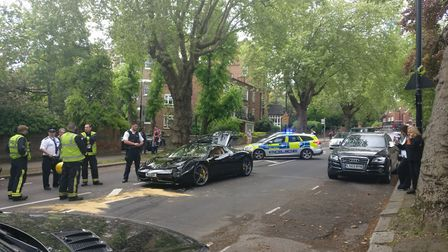 The scene after the crash in Fitzjohn's Avenue.