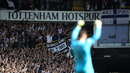 Tottenham Hotspur fans celebrate as Victor Wanyama scores his side's first goal of the game during t