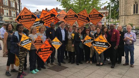 Liberal Democrat supporters with Nick Clegg, Lynne Featherstone and Dawn Barnes in Muswell Hill.