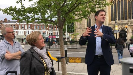 Nick Clegg giving a speech outside Planet Organic in Muswell Hill. Picture: Iain Burns