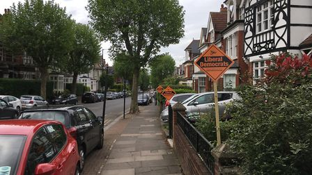 Liberal Democrat paraphernalia in Muswell Hill. Picture: Iain Burns