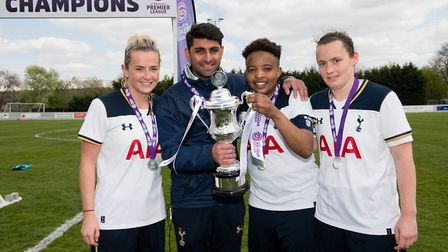 Tottenham Ladies Reserves manager Ak Lakhani with Amy Makewell, captain Shona Chitate and Emily Mast