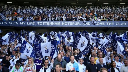 Tottenham Hotspur fans show their support in the stands during the Premier League match at White Har