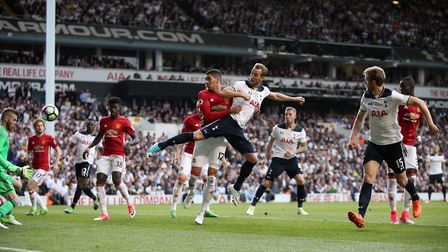 Tottenham Hotspur's Harry Kane (centre, right) scores his side's second goal of the game during the