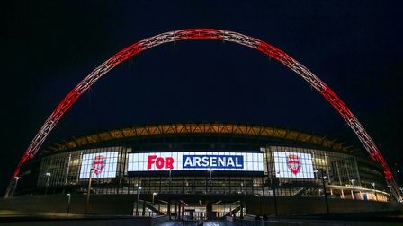 Wembley Stadium's arch lit up for Arsenal to celebrate its 10th anniversary