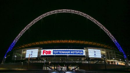Wembley Stadium's arch lit up for Tottenham Hotspur to celebrate its 10th anniversary