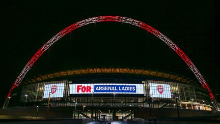 Wembley Stadium's arch lit up for Arsenal Ladies to celebrate its 10th anniversary