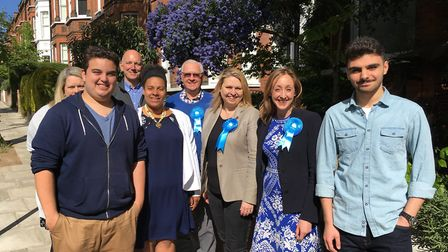 Claire-Louise Leyland (second from right) canvassing with Conservative supporters in Hampstead & Kil
