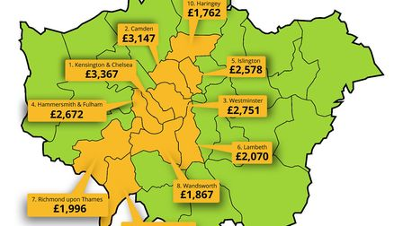 Camden is the second most expensive place to rent a parking space in London. Map: YourParkingSpace.c