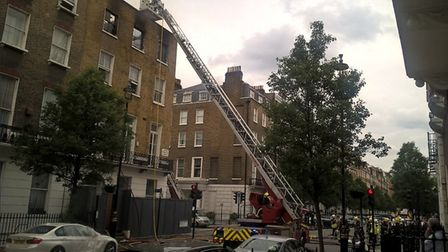 Fire crews from five stations tackled a huge blaze at an end of terrace building in Upper Wimpole St