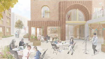 Arched windows and covered walkways will echo the local architecture