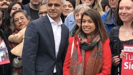 Sadiq Khan joined Tulip Siddiq who is fighting to retain her seat in the key Hampstead and Kilburn m