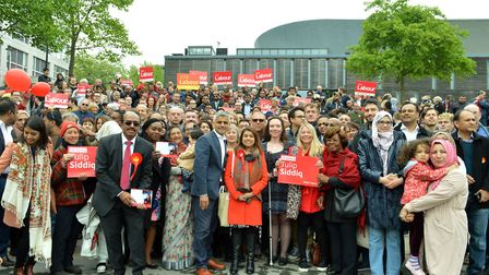 Sadiq Khan Mayor of London, Tulip Siddiq MP and supporters at a rally at Swiss Cottage Open Space on