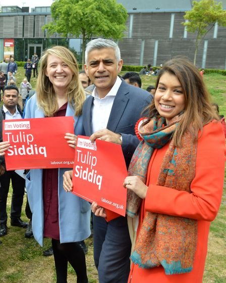 Cllr Georgia Gould, Sadiq Khan Mayor of London, Tulip Siddiq MP with supporters at a rally at Swiss