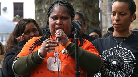 Jessica Plummer, mother of murdered son Shaquan, speaks at the peace march. Picture: Catherine Davis