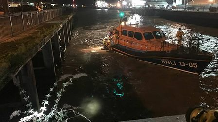 The coastguard team was called to assist with the resuce of woman in Lowestoft Harbour. Picture: Cou