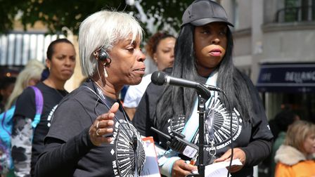 Janette Collins at the 'Enough is Enough' march organised by The Crib youth club. Photo: Catherine D