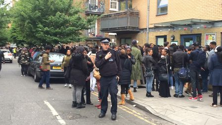 Police were called to Phillip Street as so many people turned up for Idris Elba's casting call. Phot