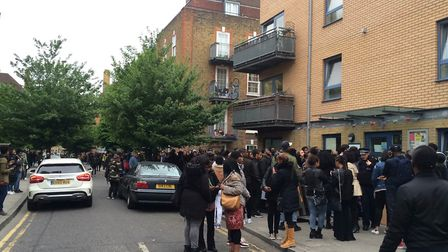 The queue to get into the casting stretched down Phillip Street and around the corner. Photo: Emma B