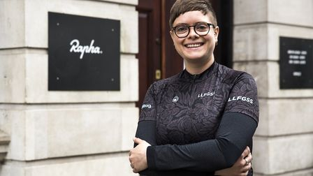 Caroline Pulford faces the camera at the launch of the Rapha/Nocturne cycling event at London's Raph