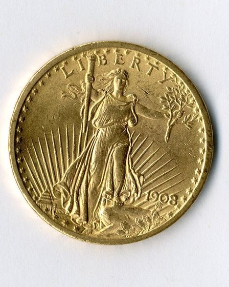 One of the gold American coins on display at Hackney Museum as part of the 'Hackney hoard'. Picture: