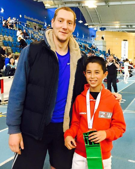 ZFW coach Peter Barwell with young fencer David Sosnor
