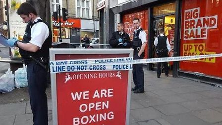 Stabbing: the boy was attacked outside JD Sports on Mare Street. Photo: @shulemstern