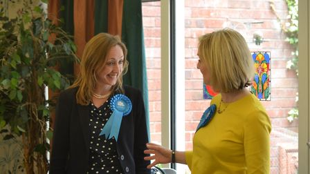 Claire-Louise Leyland was joined by Justice Secretary Liz Truss at a care home in Finchley Road toda