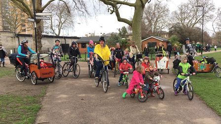 Hackney Family Cycling's launch event, with Ruth-Anna centre in yellow. Picture: Hackney Family Cycl