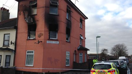 Police remained at the scene of the fire in Roman Road, Lowestoft a day after the blaze as investiga