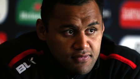 Saracens' Billy Vunipola at a press conference ahead of the European Champions Cup final (pic Chris